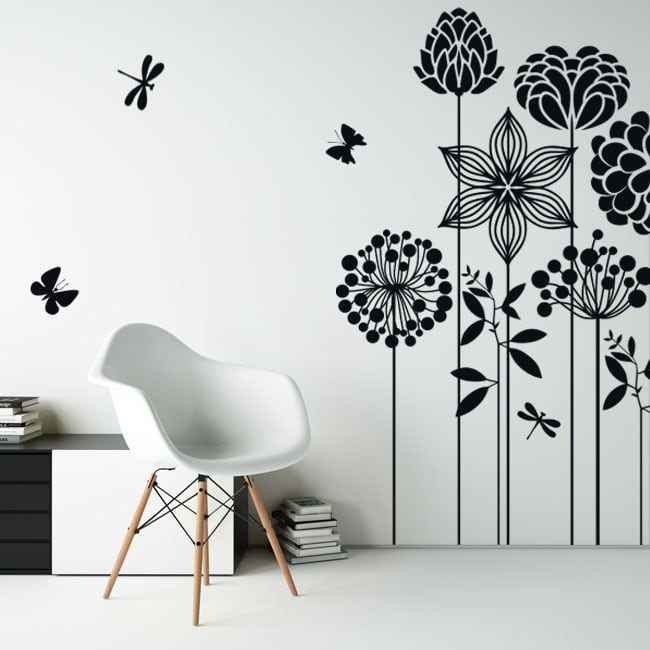 Decorative vinyl flowers butterflies and dragonflies
