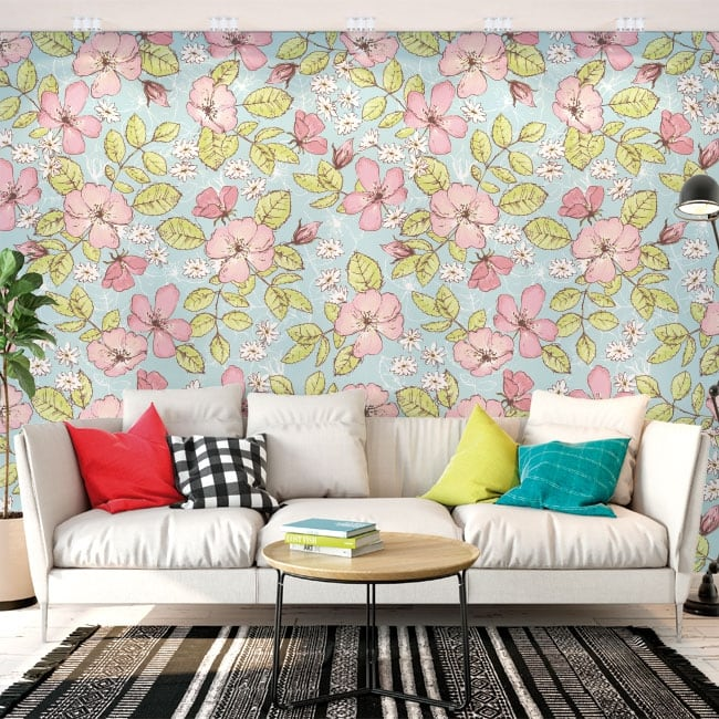 Adhesive wall stickers with flowers and butterflies