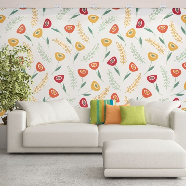 Wall murals of adhesive vinyl with retro flowers