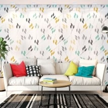 Wall murals of adhesive vinyl leaves nature