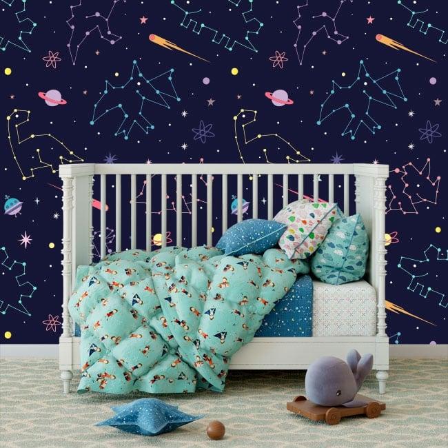 Wall murals of children's vinyl constellation