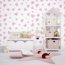 Wall murals of adhesive vinyl with pink hearts