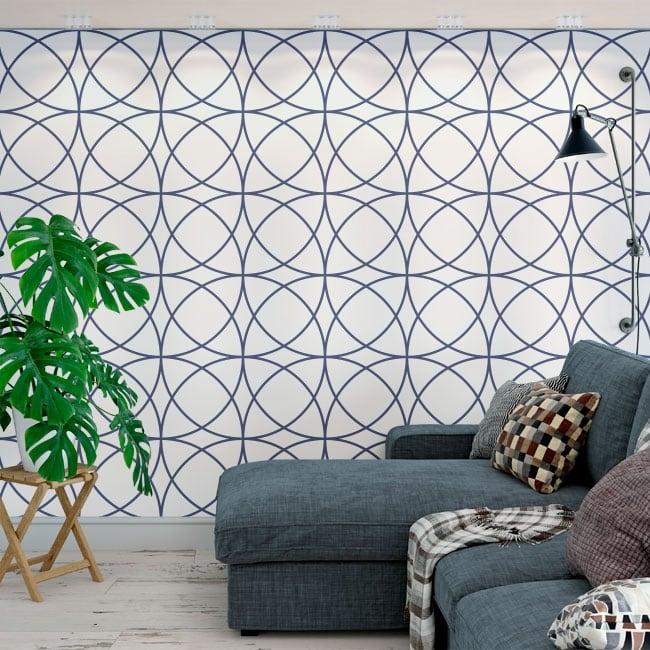 Wall murals of adhesive vinyl with circles