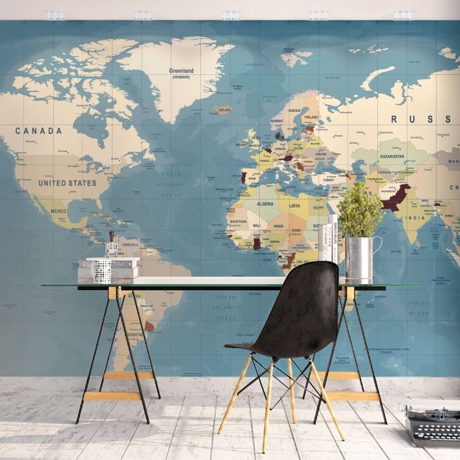 Wall murals of adhesive vinyl world map