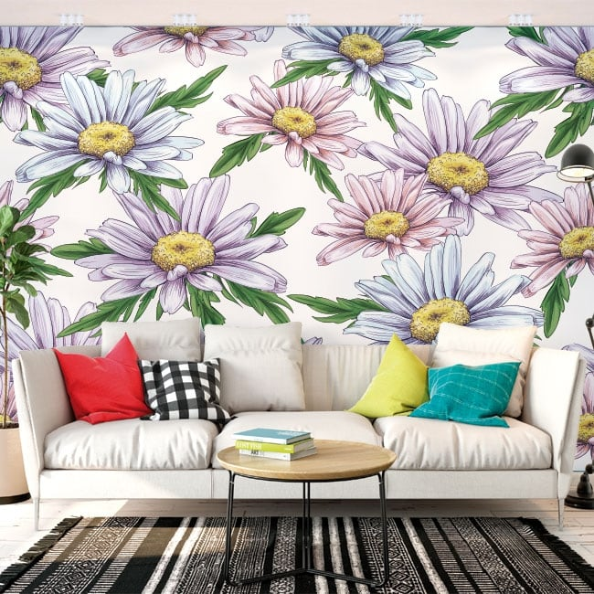 Wall murals of adhesive vinyl camomile flowers