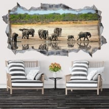 Decorative vinyl and stickers 3d elephants
