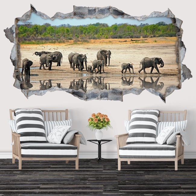Decorative vinyl and stickers 3d elephants