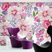 Wall murals of adhesive vinyl flowers to decorate
