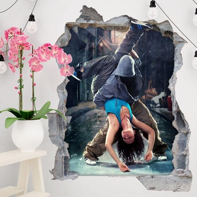 Decorative vinyl and stickers urban dance 3d