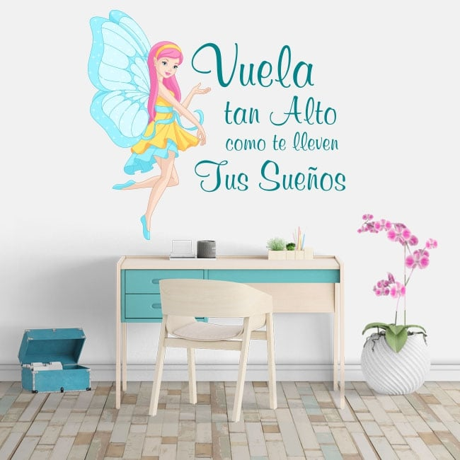 Vinyl motivational phrases fairy fly high