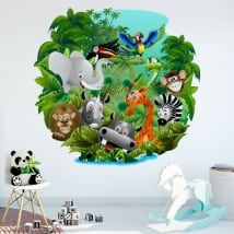 Decorative vinyl and children's stickers animals in the jungle