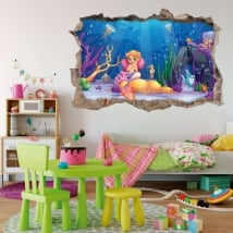 Decorative vinyl and children's stickers little mermaid in the sea 3d
