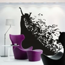 Decorative vinyl silhouette woman and music notes