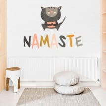 Decorative stickers yoga phrases in english namaste