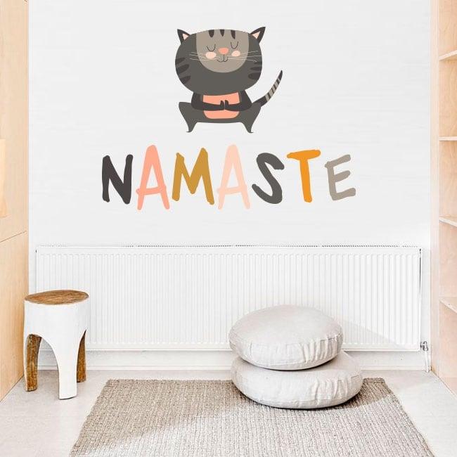 Decorative stickers yoga phrases in english namaste