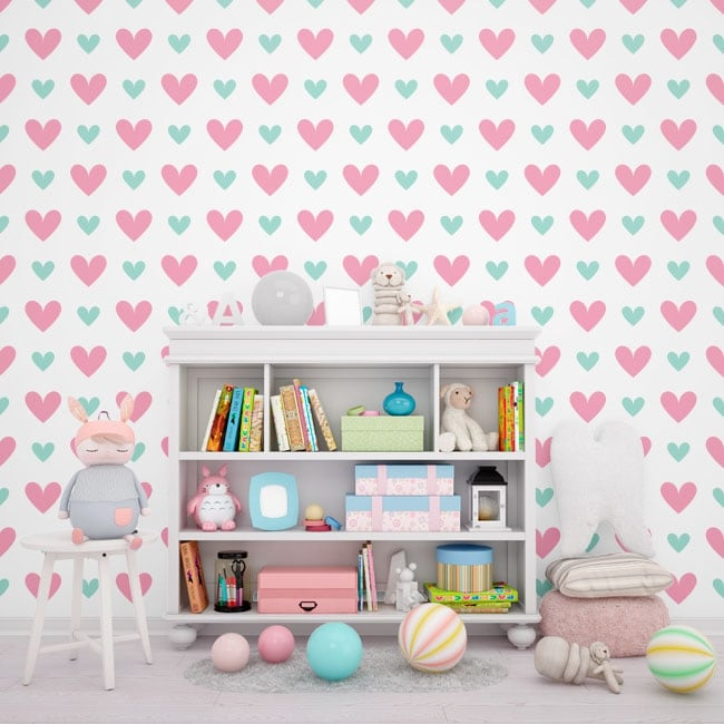 Vinyl wall murals of love colored hearts