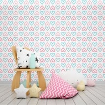Vinyl wall murals colored hearts