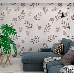 Wall murals of decorative vinyl leaves nature