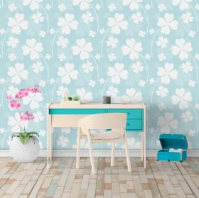 Wall murals of decorative vinyl 4 leaf clovers
