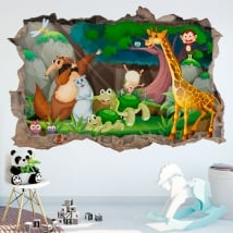 Children's decorative vinyl happy animals 3d