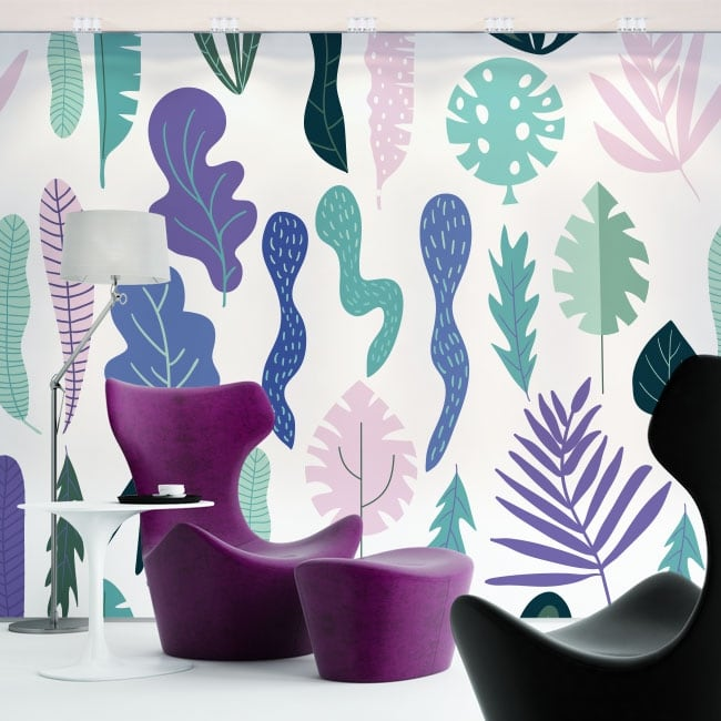Wall murals of vinyl flowers and leaves nature