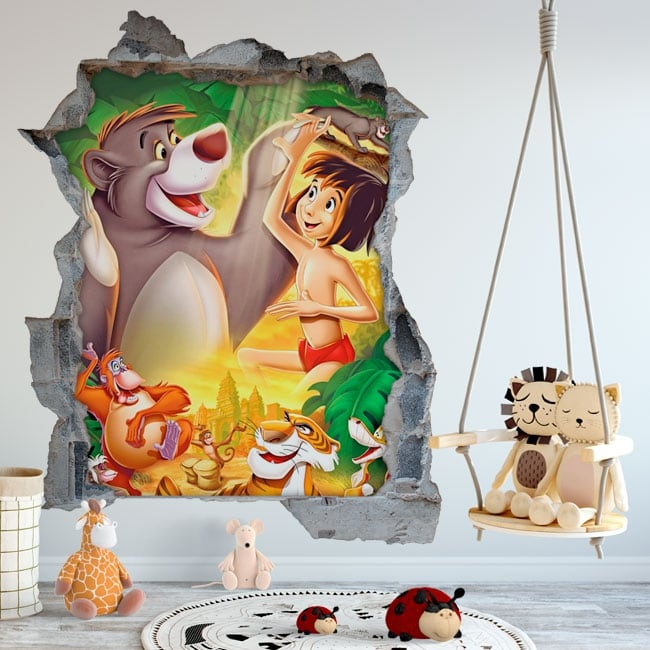 Wall murals the jungle book hole 3d