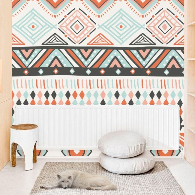 Wall murals of decorative vinyl with hippie style