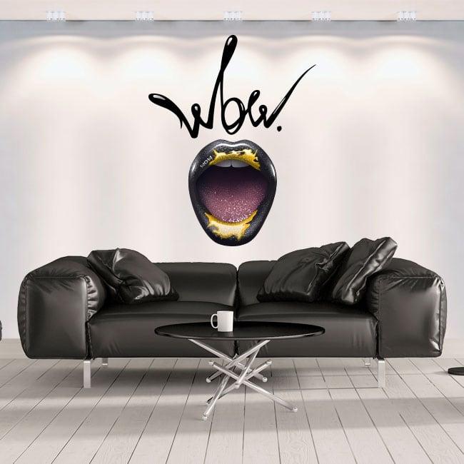 Decorative vinyl walls mouth wow