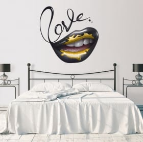 Decorative vinyl walls mouth wow