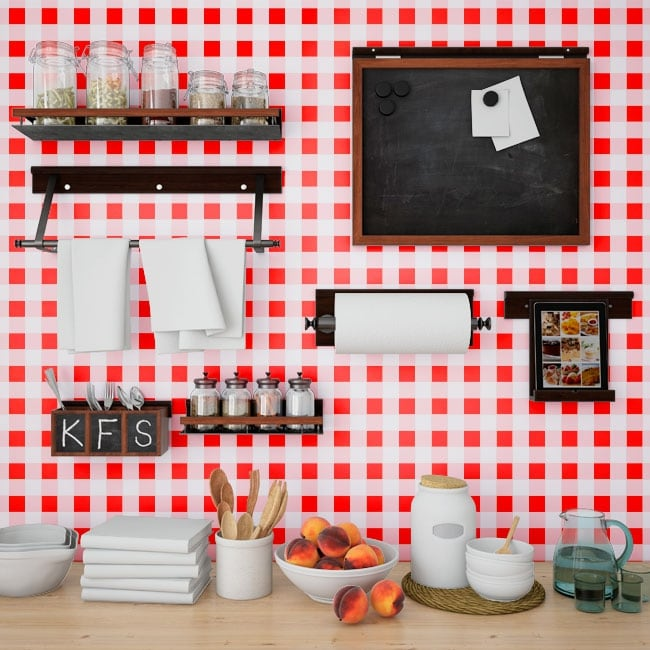 Photo murals vinyls walls kitchens red squares vichy