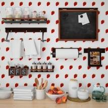 Photo murals vinyls walls strawberries kitchens