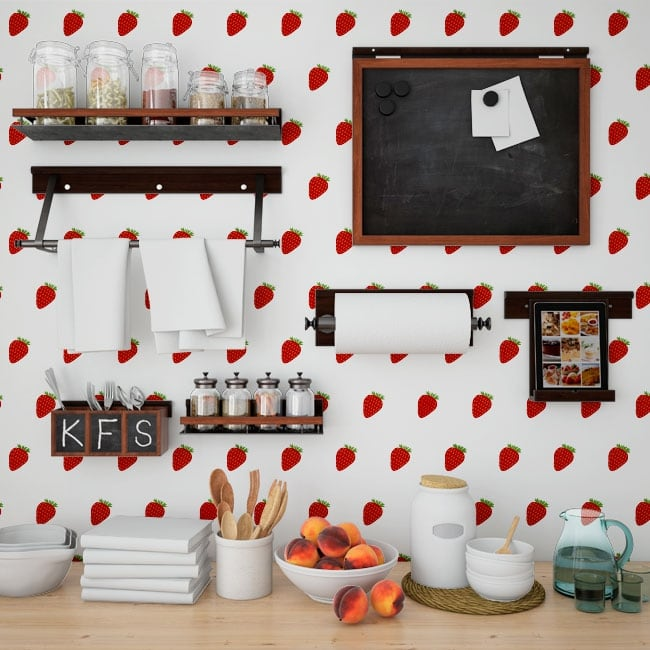 Photo murals vinyls walls strawberries kitchens