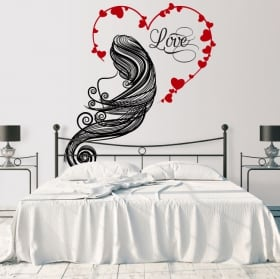 Vinyl walls silhouette woman heart love