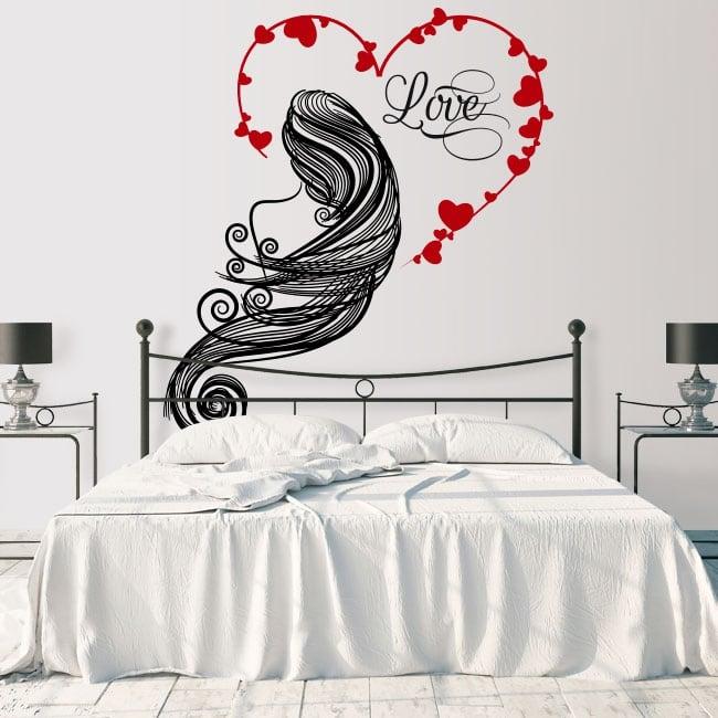 Vinyl walls silhouette woman heart love