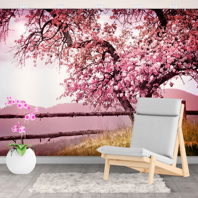 Photo murals vinyls walls japanese cherry blossom