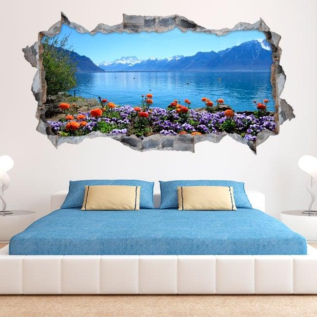 Vinyl walls flowers in lake geneva switzerland 3d
