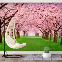 Vinyl wall murals cherry tree trees
