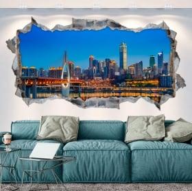 Vinyl hole wall panoramic business bay dubái 3d