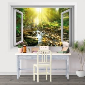 Vinyl window sunset in the field of flowers 3d