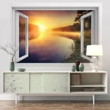 Vinyl walls sunrise river neris lithuania 3d