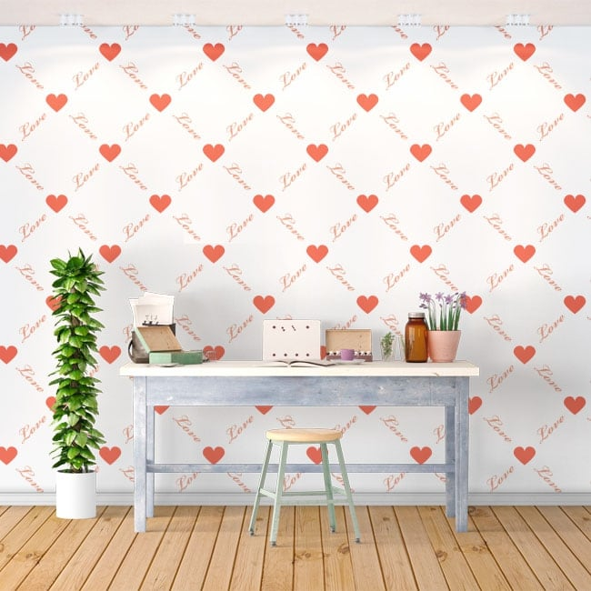Wall mural romantic love hearts