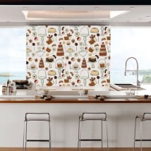 Wall murals of vinyl pastry for shops and kitchens