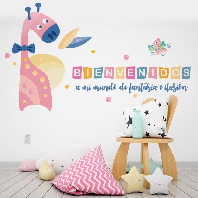 Children's vinyl giraffe and bird welcome to my world