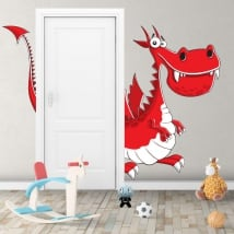Children's vinyl dragon for doors