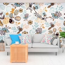 Wall murals of vinyl flowers nature