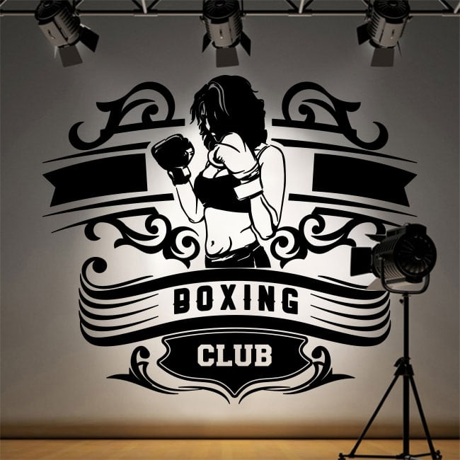 Vinyl and stickers boxing club silhouette woman