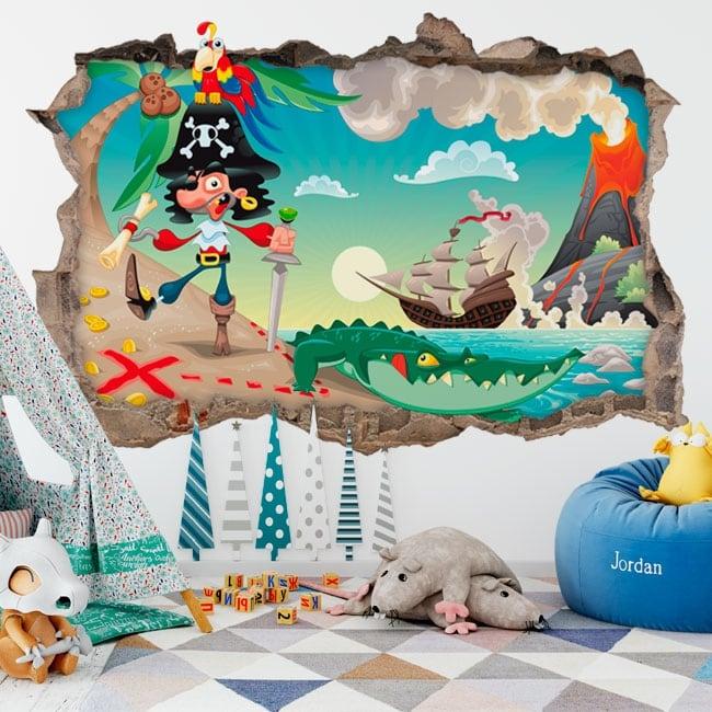 Children's vinyl pirate on the island of treasure 3d