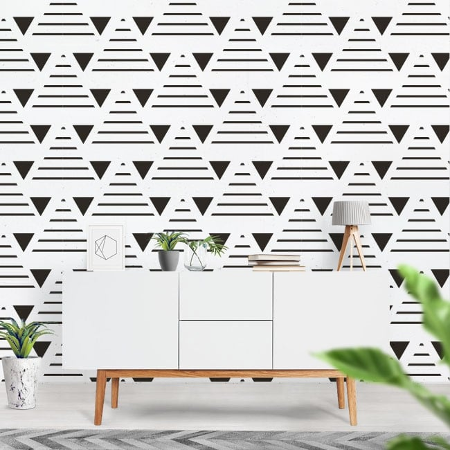 Vinyl mural with triangles and lines