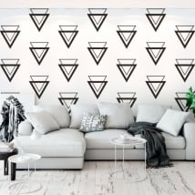 Wall mural of vinyl with triangles