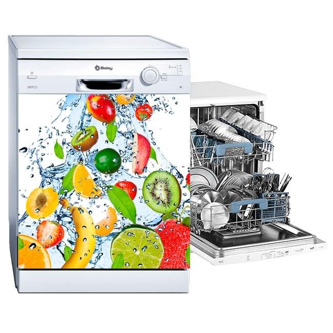 Vinyl dishwashing fruits splashing water